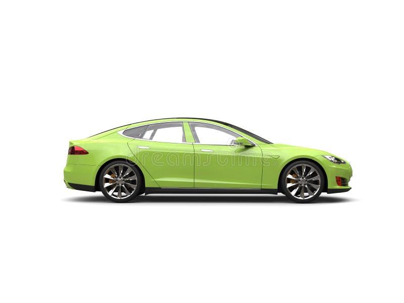 Opinião lateral automobilístico dos esportes bondes frescos do verde-lima ilustração royalty free