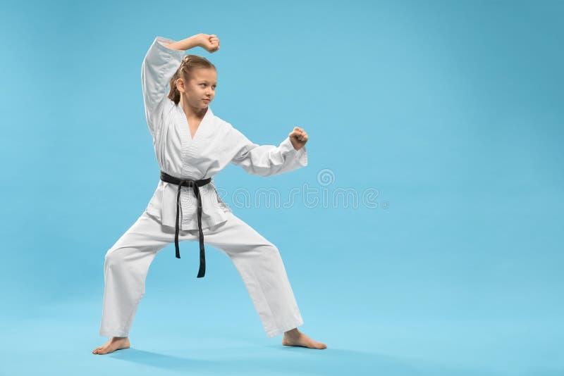 Opinião lateral a criança que está na posição do karaté no estúdio imagem de stock royalty free