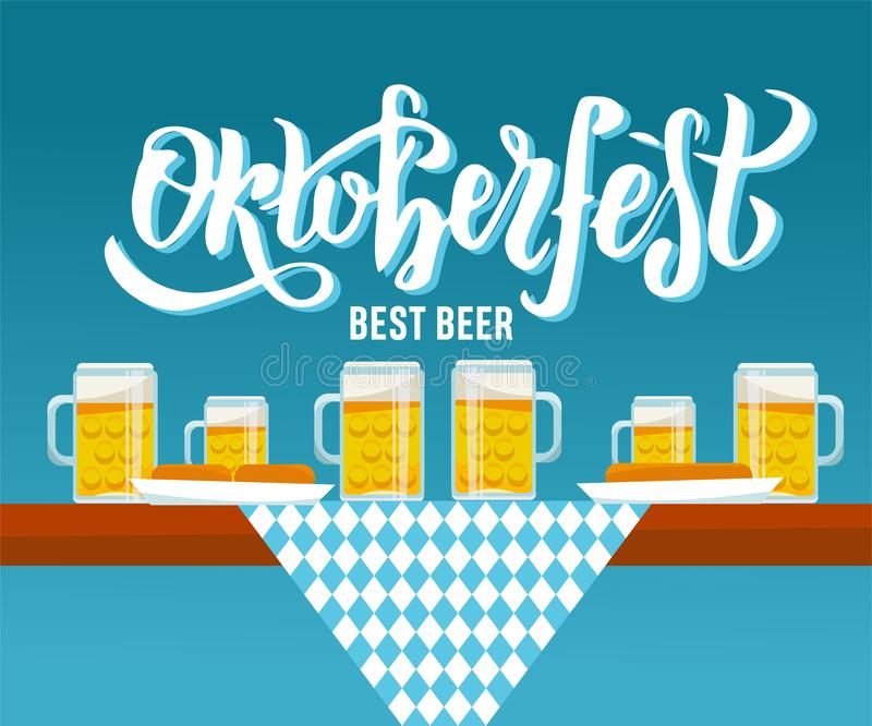 Opini?o lateral da ilustra??o lisa do vetor na tabela de Oktoberfest com pano quadriculado, canecas de cerveja e placas com petis ilustração do vetor