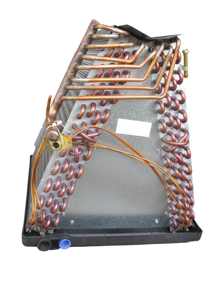 Opinião lateral de bobina de evaporador imagens de stock royalty free