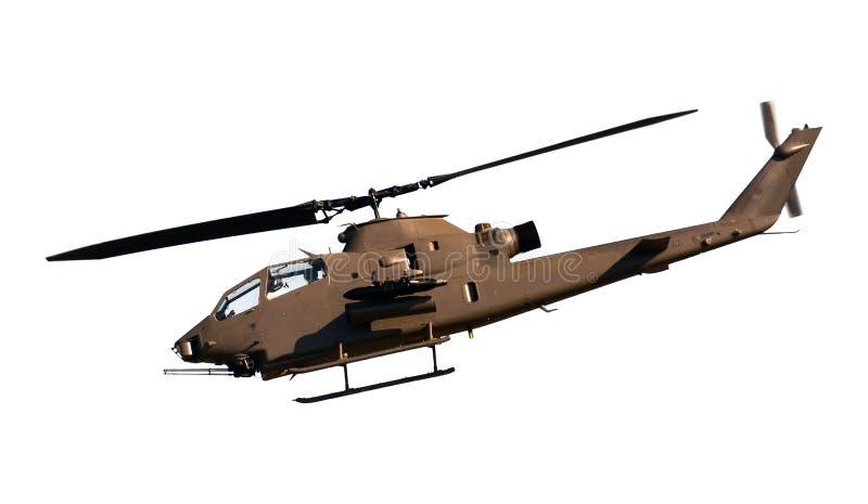 Opinião lateral de helicóptero de ataque isolada imagens de stock
