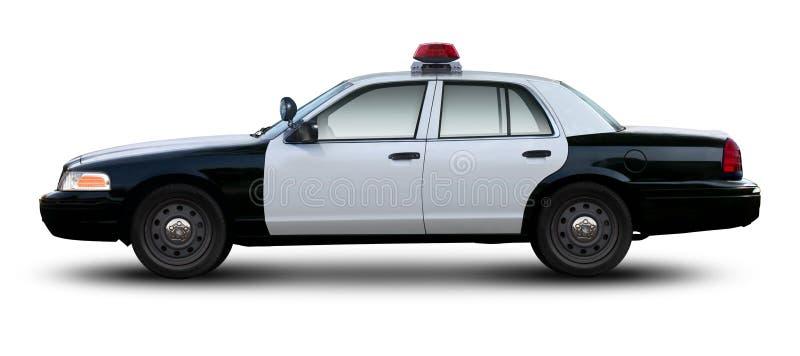 Opinião lateral de victoria da coroa do baixio do carro de polícia fotografia de stock