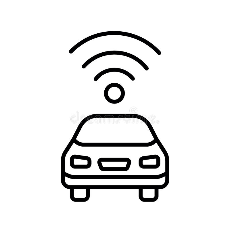 Opinião lateral decondução autônoma do carro driverless do veículo com ícone liso do radar ilustração do vetor