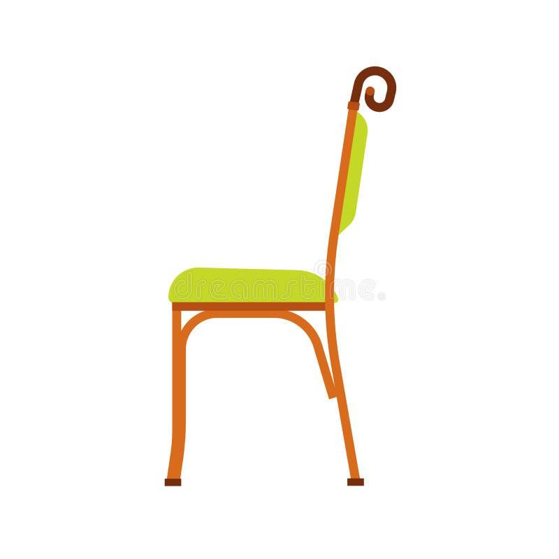Opinião lateral do ícone clássico do vetor do verde da cadeira O interior da casa da mob?lia isolou-se A sala luxuosa retro senta ilustração do vetor