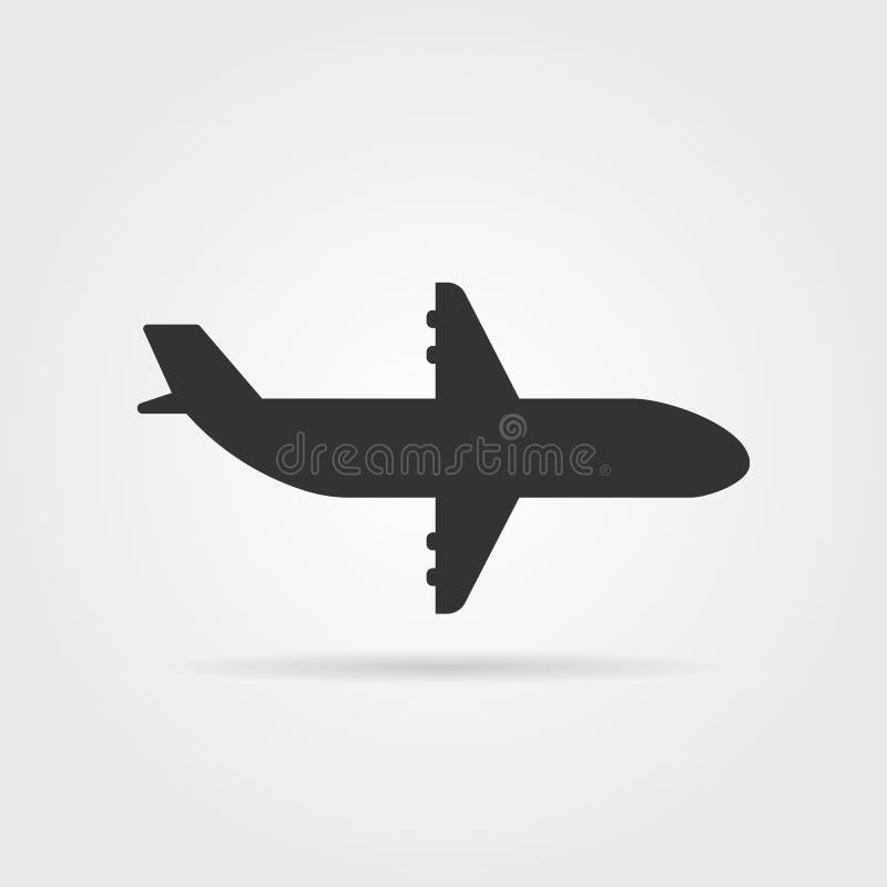 Opinião lateral do ícone preto do avião com sombra ilustração stock