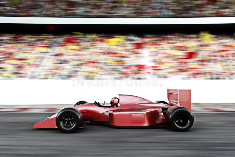 Opinião lateral do carro de corridas vermelho dos esportes automóveis ilustração stock