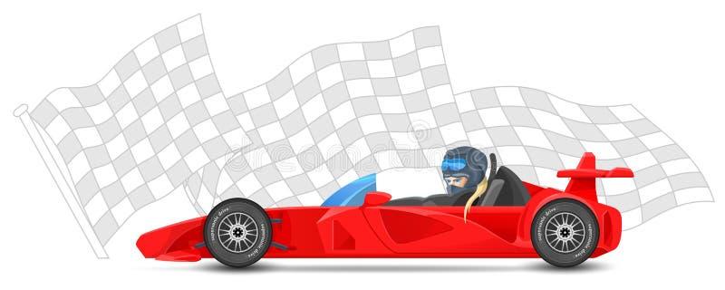A opinião lateral do carro de corridas vermelho, fórmula 1, em esportes termina o fundo da bandeira Esporte dos Bolides ilustração do vetor