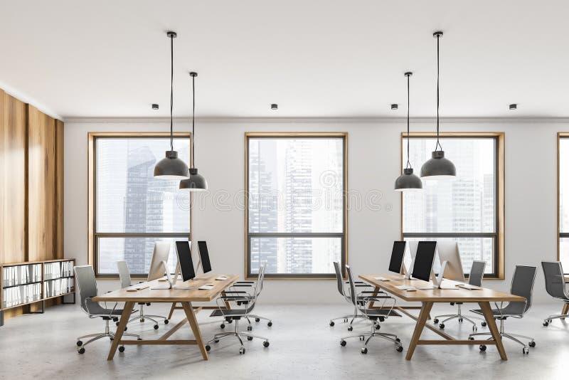 Opinião lateral do escritório branco e de madeira do espaço aberto fotografia de stock royalty free