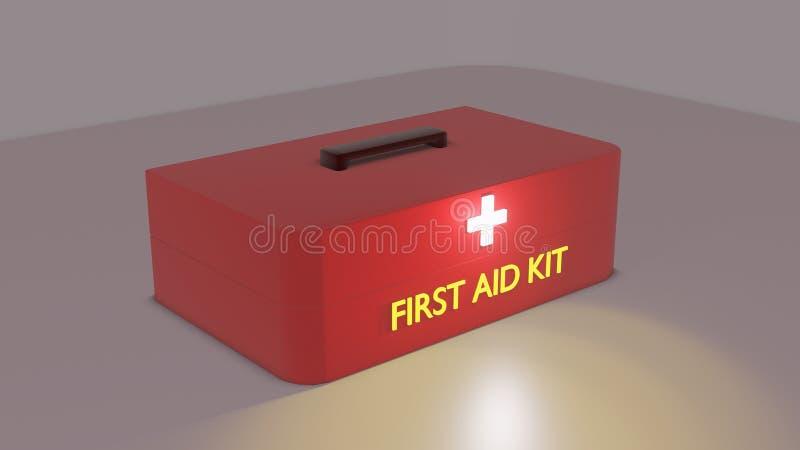 Opinião lateral do kit de primeiros socorros vermelho imagens de stock royalty free