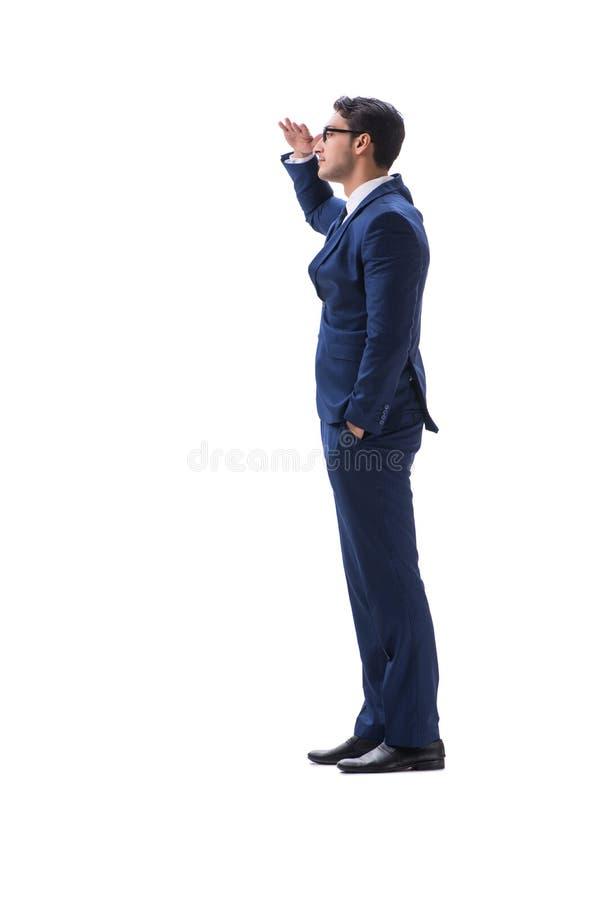Opinião lateral ereta de passeio do homem de negócios isolada no backgro branco fotos de stock royalty free