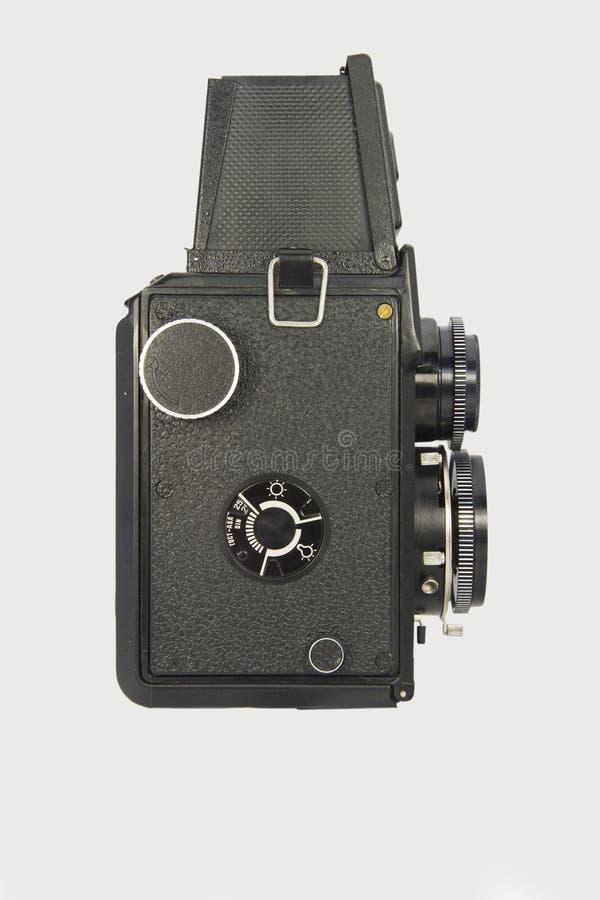 Opinião lateral gêmea clássica de câmera de reflexo da lente foto de stock