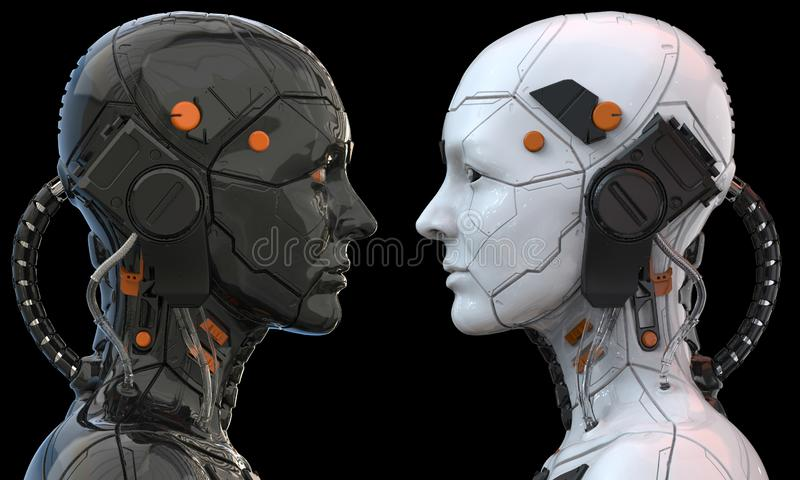 Opinião lateral humanoid da mulher do cyborg do robô de Android - rendição 3d