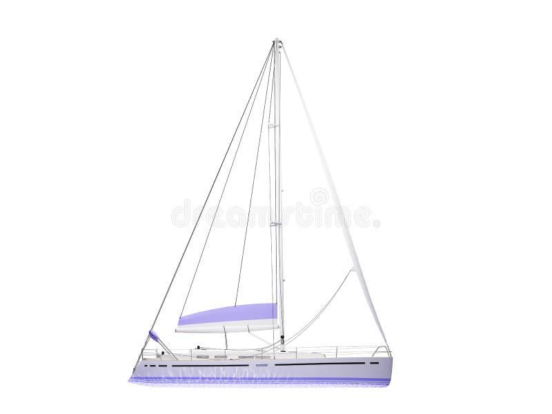 Opinião lateral isolada barco da embarcação ilustração stock