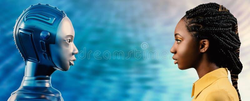 Opinião lateral a mulher africana que olha o avatar do robô