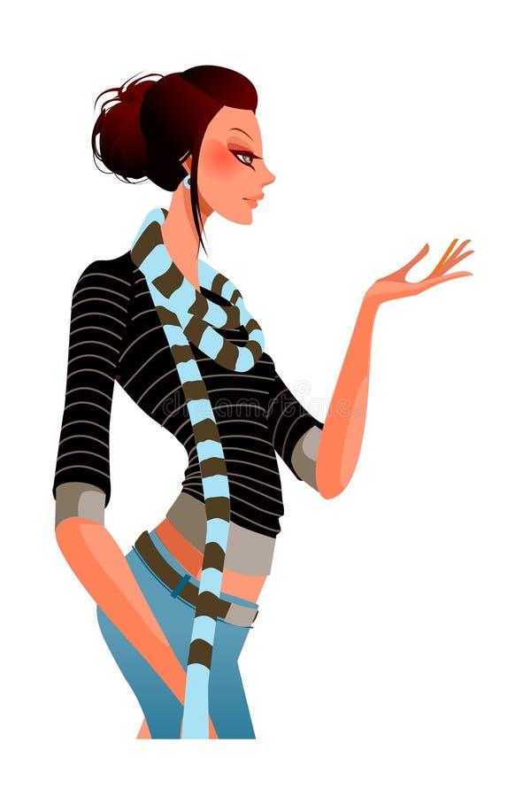 Opinião lateral a mulher ilustração stock