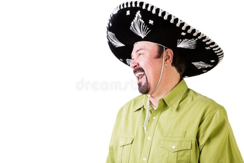 Opinião lateral o homem de riso no chapéu mexicano do sombreiro imagens de stock