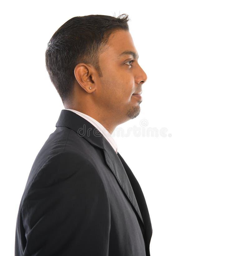 Opinião lateral o homem indiano fotografia de stock