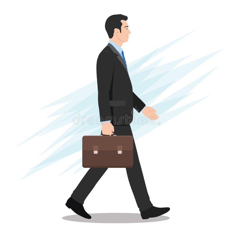 Opinião lateral um homem de negócios que anda para a frente ilustração royalty free