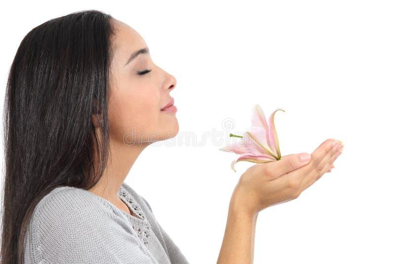 Opinião lateral uma mulher árabe que cheira uma flor foto de stock