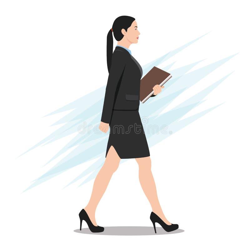 Opinião lateral uma mulher de negócio que anda com pasta de arquivos ilustração do vetor