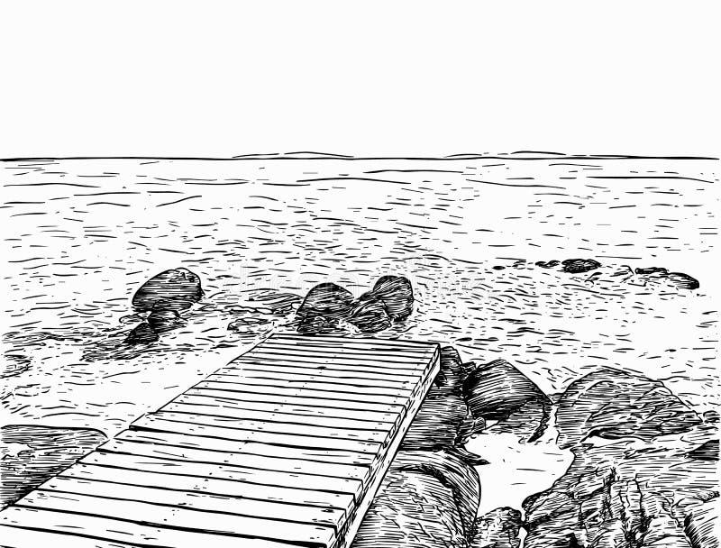 Opinião maravilhosa do mar Esboço do cais O porto de madeira, mar, ilha, scen ilustração stock
