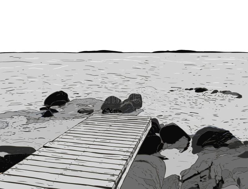 Opinião maravilhosa do mar Esboço do cais O porto de madeira, mar, ilha, scen ilustração royalty free