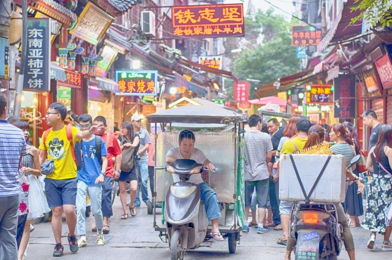 Opinião muçulmana da noite de Xian China da rua do alimento