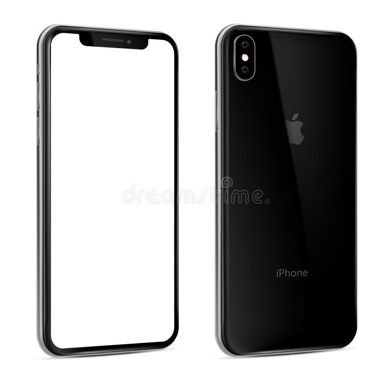 Opinião nova do preto de Xs do iPhone em um ângulo ilustração do vetor