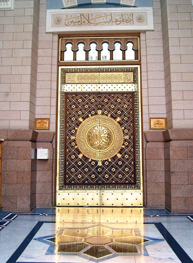 Opinião o rei Abdul Azeez Gate da porta de entrada ao profeta Muhammad Mosque ou imagem de stock