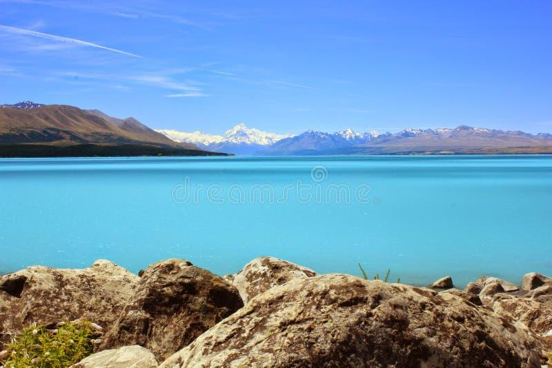 Opinião original de Pukaki do lago, cenário sem falhas de Nova Zelândia fotos de stock