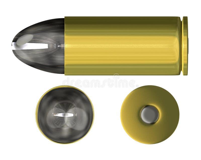 Opinião ortogonal da bala (3D) ilustração do vetor