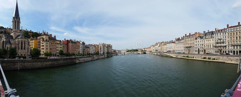 Opinião panorâmico da cidade de Lyon fotografia de stock