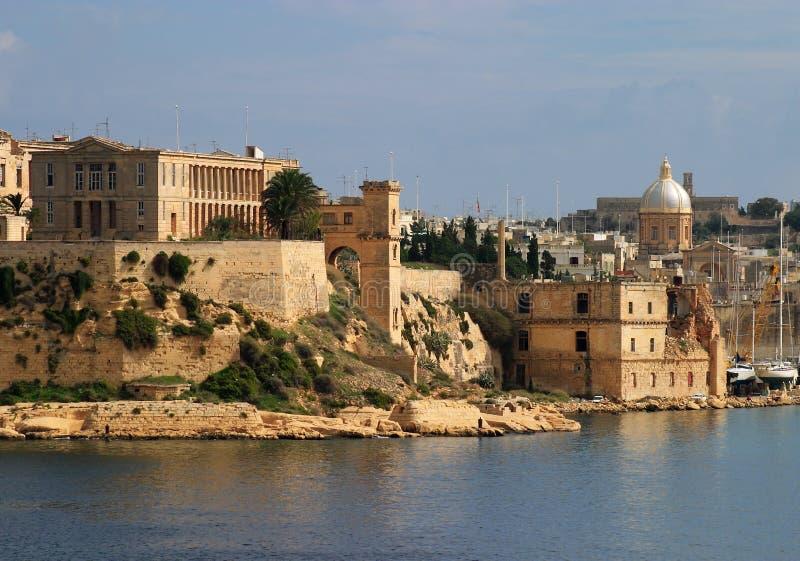 Opinião panorâmico de Valletta do La de Malta fotografia de stock royalty free