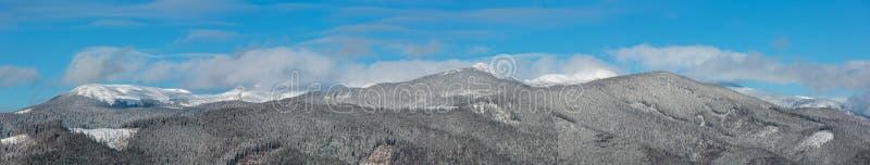 Opinião pitoresca do panorama das montanhas da manhã do inverno da montanha de Skupova, distrito de Verkhovyna, Ucrânia imagem de stock