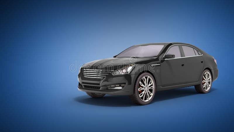 A opinião preta 3d do estúdio do carro rende no fundo azul ilustração royalty free