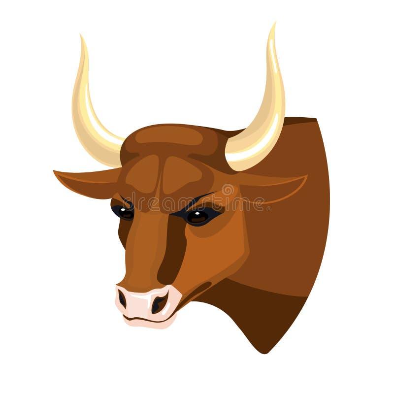 Opinião realística principal do perfil do ícone de Bull na vaca muscular marrom ilustração do vetor