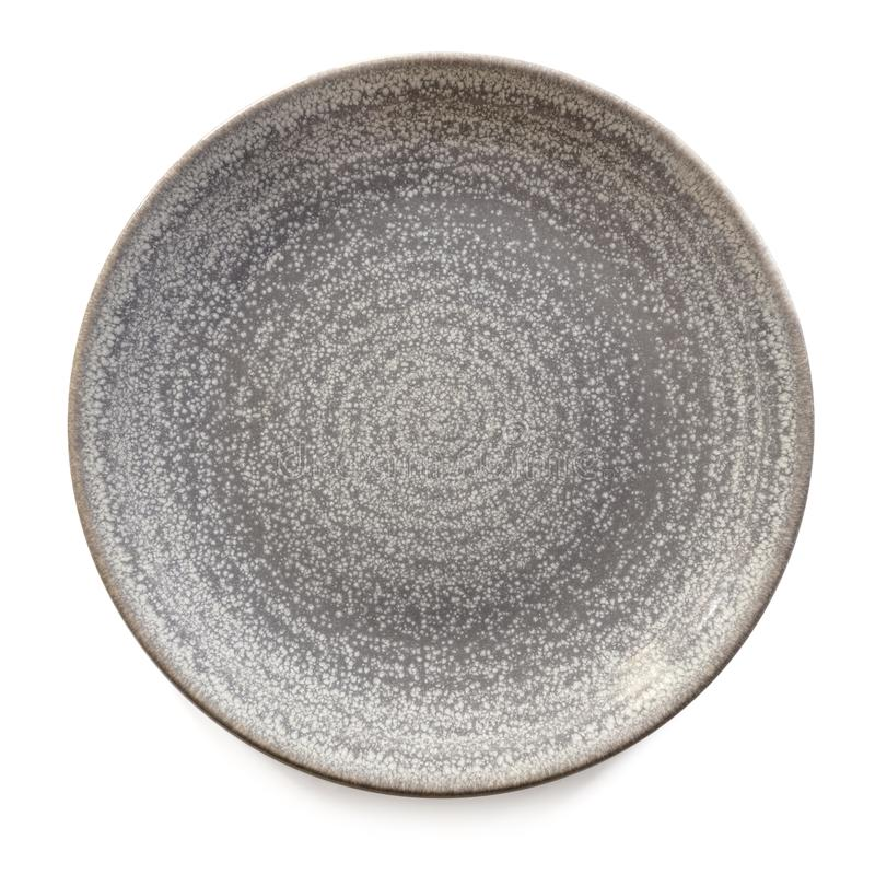 Opinião redonda de Gray Stoneware Plate Isolated Top fotografia de stock royalty free