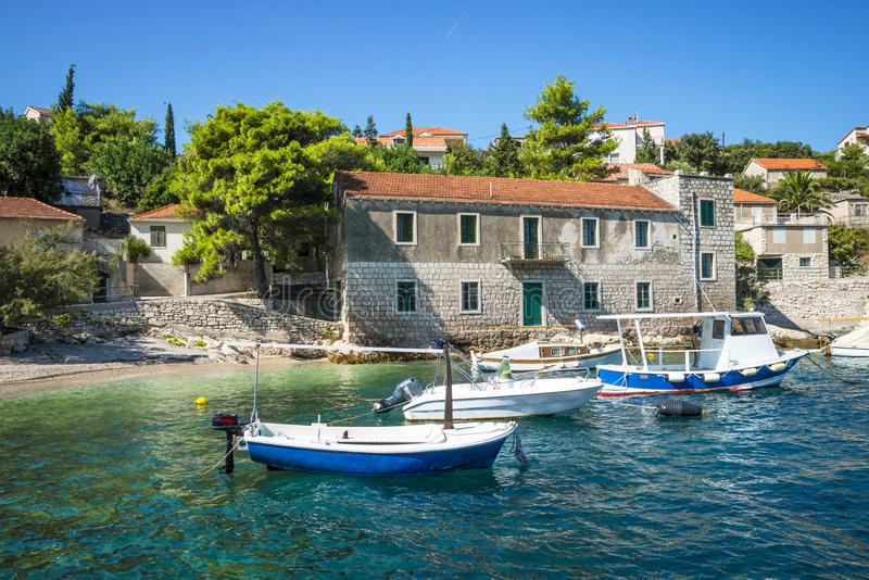 Opinião regional da ilha de Korcula, Croácia fotos de stock royalty free