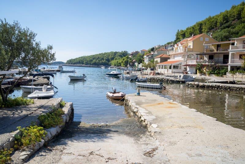 Opinião regional da ilha de Korcula, Croácia imagem de stock