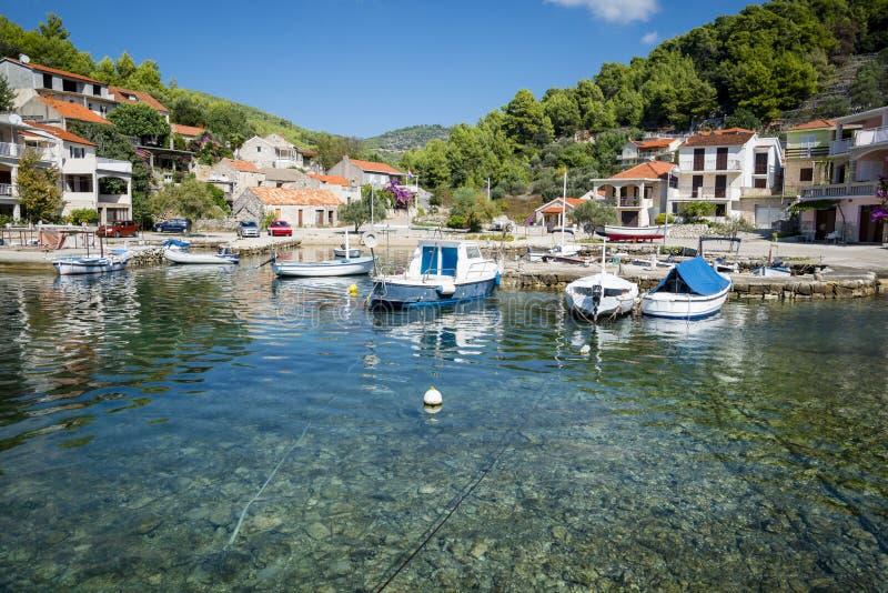 Opinião regional da ilha de Korcula, Croácia imagens de stock