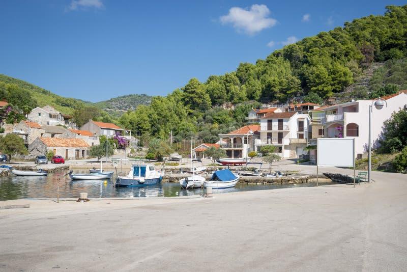 Opinião regional da ilha de Korcula, Croácia foto de stock