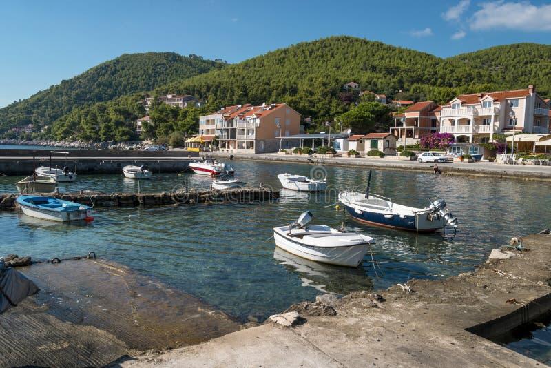 Opinião regional da ilha de Korcula, Croácia foto de stock royalty free