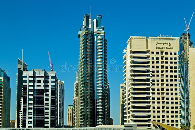 Opinião residencial e do hotel de luxo dos arranha-céus da skyline, Dubai, UAE imagem de stock