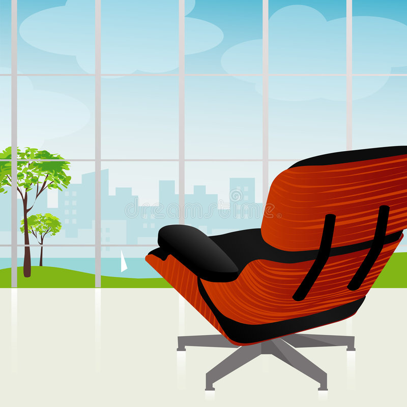 opinião Retro-moderna da cidade da cadeira ilustração do vetor