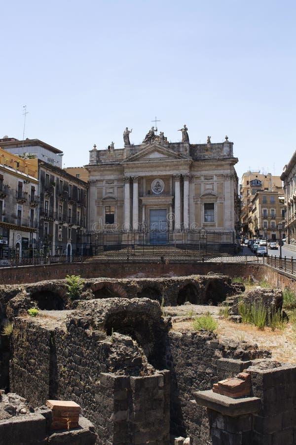 Opinião Roman Amphitheater de Catania foto de stock royalty free