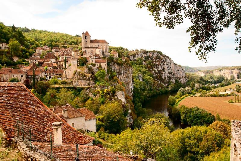 Opinião Saint-Cirq-Lapopie France foto de stock royalty free
