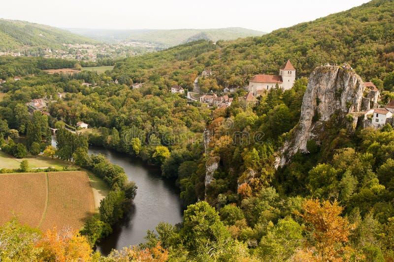 Opinião Saint-Cirq-Lapopie France imagem de stock