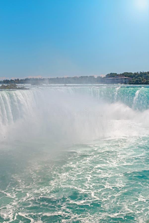 Opinião superior aérea da paisagem de Niagara Falls entre o Estados Unidos da América e o Canadá foto de stock