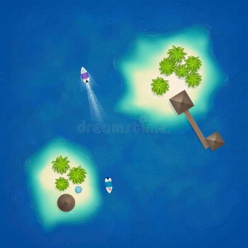 Opinião superior aérea das ilhas tropicais com barcos e cabanas, ilustração do vetor ilustração royalty free