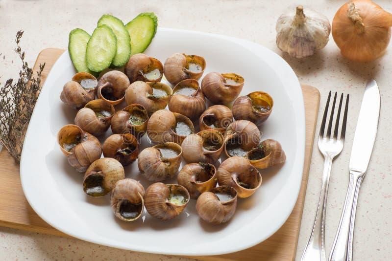 Opinião superior caracóis cozinhados (escargot) - sn português tradicional fotos de stock royalty free